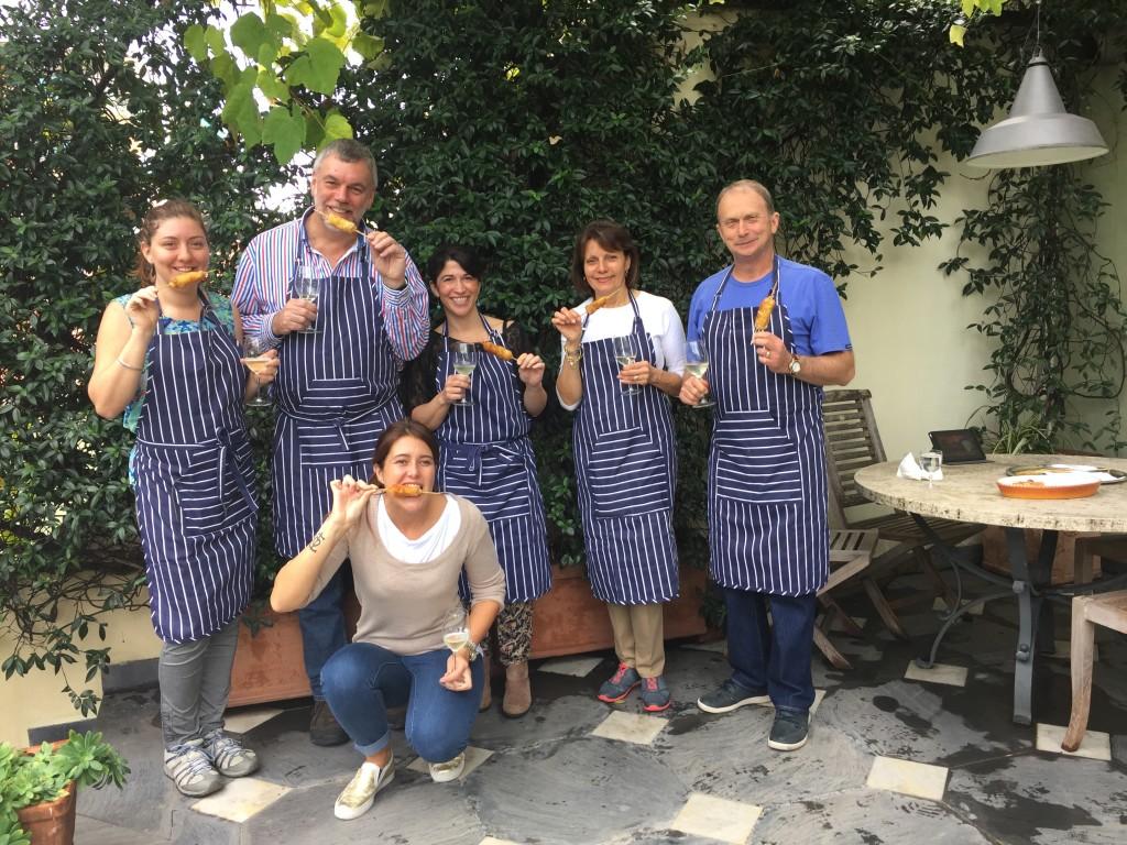 Most of the gang (minus Pietro) cooking at Palazzo Ravaschieri, Chiavari