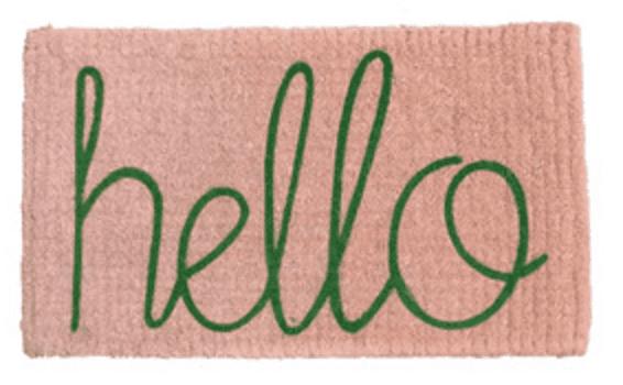 Door mat (Hello green writing) pink mat Down to the woods