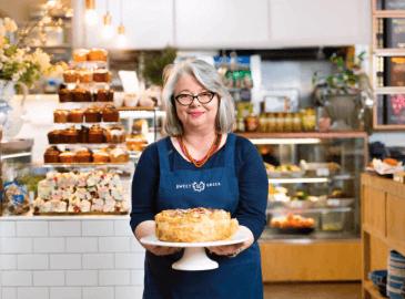 Kathy Tsaples at her shop, Sweet Greek.